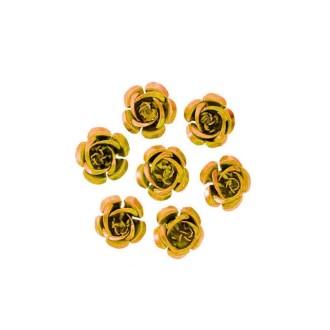 10 Perles Fleurs 15mm Vieil or