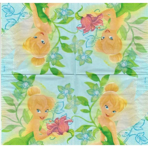 4 Serviettes en papier Fée Clochette Format Lunch Decoupage Decopatch L92683202 Decorata - Photo n°1