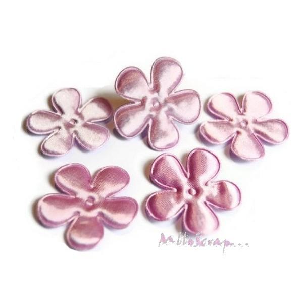 Appliques fleurs tissu satin violet clair - 5 pièces - Photo n°1