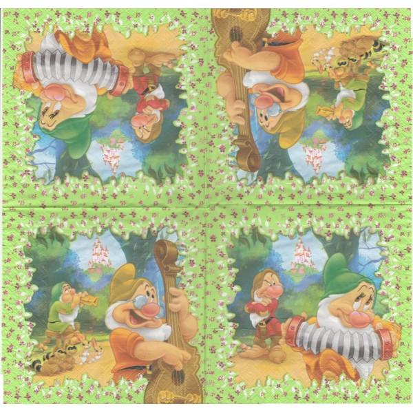 4 Serviettes en papier Conte Les 7 nains Format Lunch Decoupage Decopatch 3011601 Decorata - Photo n°2