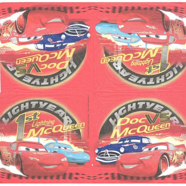 4 Serviettes en papier Cars Format Lunch Decoupage Decopatch 1052463 Decorata - Photo n°1