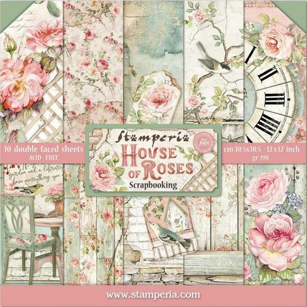 10 papiers scrapbooking 30 x 30 cm STAMPERIA HOUSE OF ROSES - Photo n°1