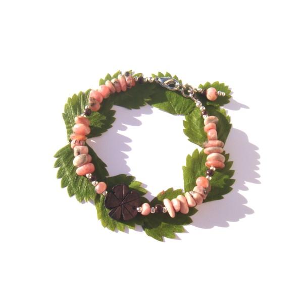 Bracelet Rhodocrosite, Bois précieux d'Ebène et Coco 18 à 19 CM max de tour de poignet - Photo n°2