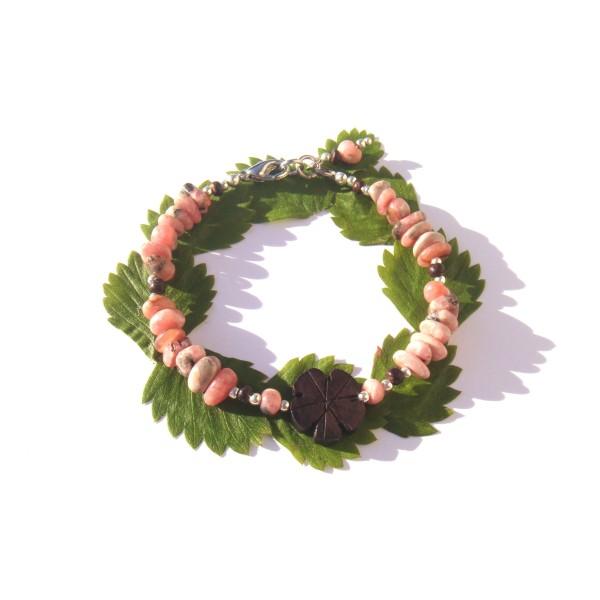 Bracelet Rhodocrosite, Bois précieux d'Ebène et Coco 18 à 19 CM max de tour de poignet - Photo n°3