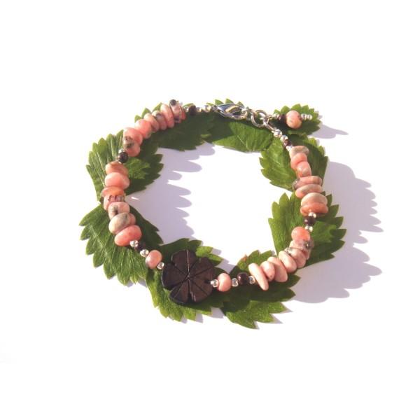 Bracelet Rhodocrosite, Bois précieux d'Ebène et Coco 18 à 19 CM max de tour de poignet - Photo n°1
