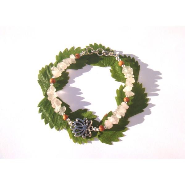 Bracelet Quartz Rose très pâle/Bois Bayong et Lotus 17 CM /18 CM de tour de poignet - Photo n°2