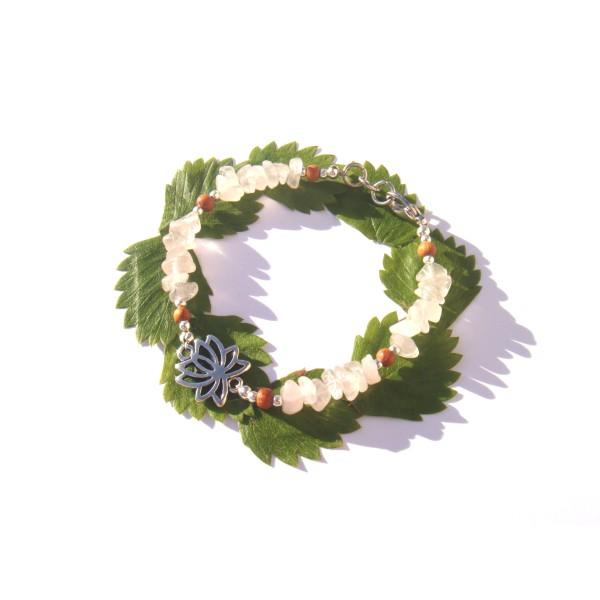 Bracelet Quartz Rose très pâle/Bois Bayong et Lotus 17 CM /18 CM de tour de poignet - Photo n°3