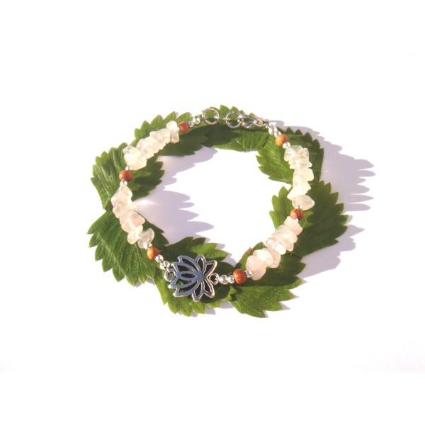 Bracelet Quartz Rose très pâle/Bois Bayong et Lotus 17 CM /18 CM de tour de poignet - Photo n°1