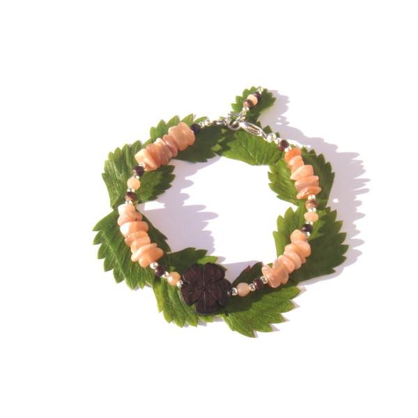 Bracelet Pierre de Soleil, Bois de Coco et Fleur d'Ebène 17.5 CM /18.5 CM - Photo n°2