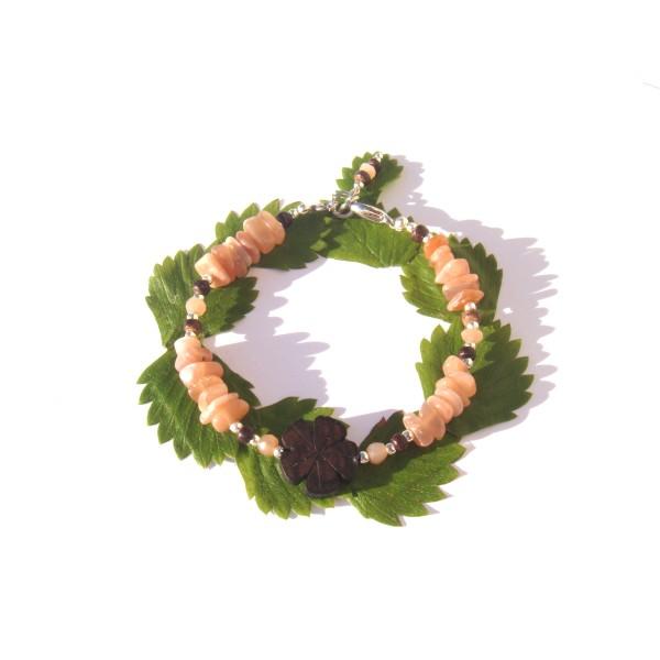 Bracelet Pierre de Soleil, Bois de Coco et Fleur d'Ebène 17.5 CM /18.5 CM - Photo n°3