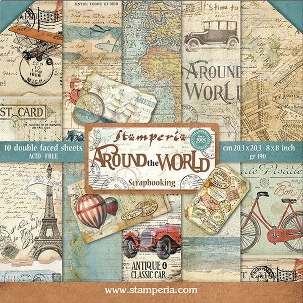 10 papiers scrapbooking 20 x 20 cm STAMPERIA AROUND THE WORLD - Photo n°1