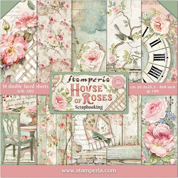 10 papiers scrapbooking 20 x 20 cm STAMPERIA HOUSE OF ROSES - Photo n°1