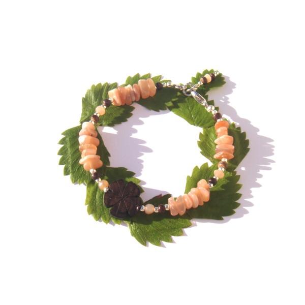 Bracelet Pierre de Soleil/Coco/fleur Ebène 17.5 CM /18.5 CM de tour de poignet - Photo n°1
