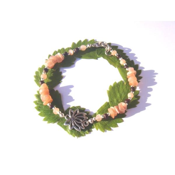 Bracelet Pierre de Soleil /Coco /fleur Lotus 18 CM /19 CM de tour de poignet - Photo n°2