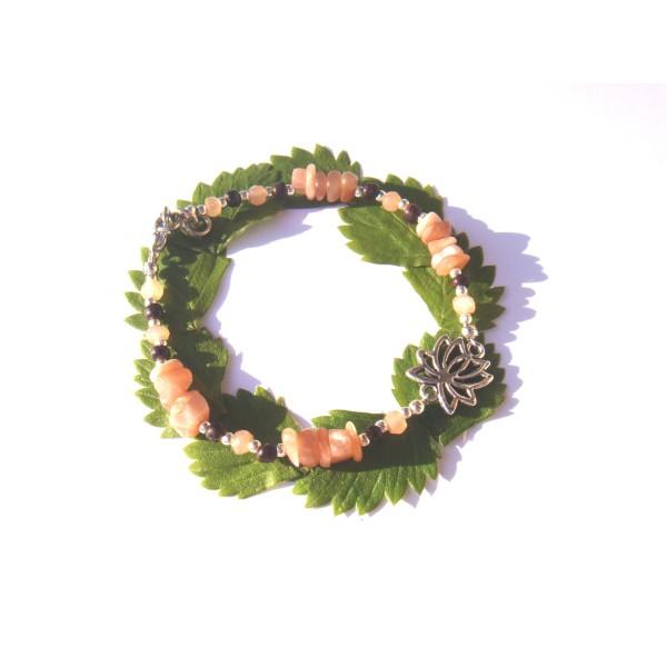 Bracelet Pierre de Soleil /Coco /fleur Lotus 18 CM /19 CM de tour de poignet - Photo n°1