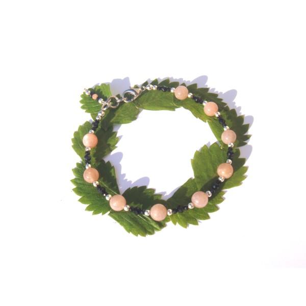 Bracelet Pierre de Soleil et Spinelle Noir 18 à 19 CM max de tour de poignet - Photo n°2
