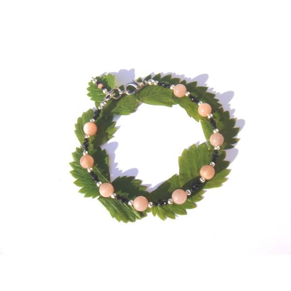 Bracelet Pierre de Soleil et Spinelle Noir 18 à 19 CM max de tour de poignet - Photo n°3