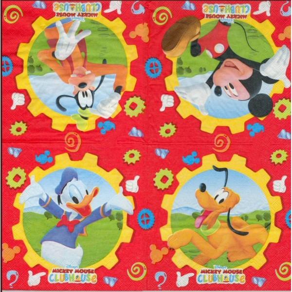 4 Serviettes en papier Mickey Mouse Format Lunch Decoupage Decopatch L83593201 Decorata - Photo n°1