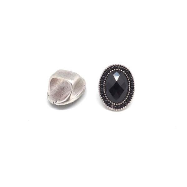 2 Perles Slide À Gros Trou En Métal Argenté Avec Cabochon Ovale Facetté Et Perle Noire Pour Cord - Photo n°5