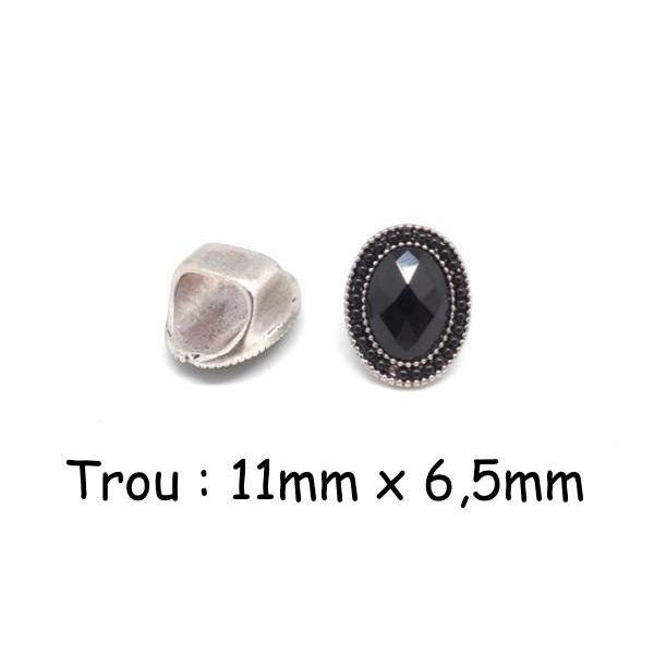 2 Perles Slide À Gros Trou En Métal Argenté Avec Cabochon Ovale Facetté Et Perle Noire Pour Cord - Photo n°1