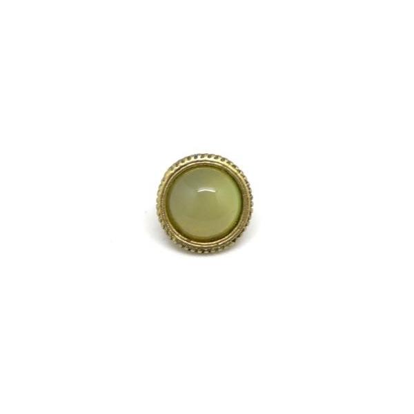 2 Perles Passant À Gros Trou Avec Cabochon Rond Jaune Vert Opaline En Métal Doré Pâle - Photo n°2