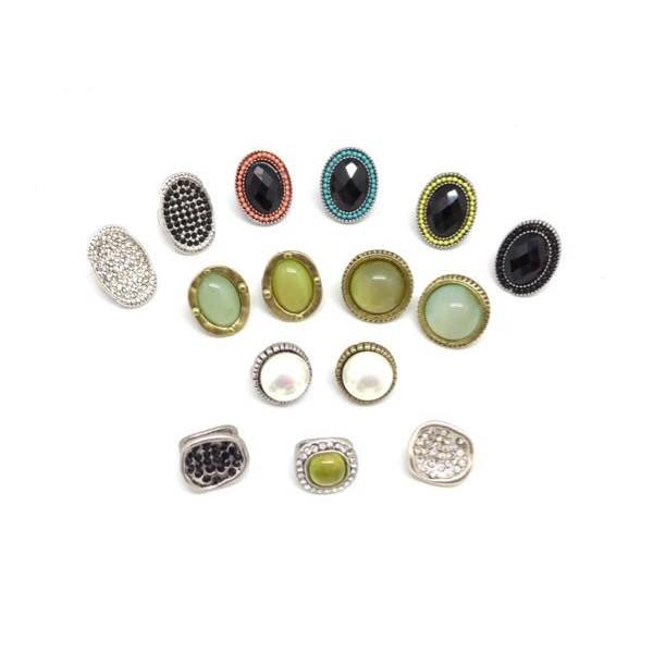 2 Perles Passant À Gros Trou Avec Cabochon Rond Jaune Vert Opaline En Métal Doré Pâle - Photo n°3