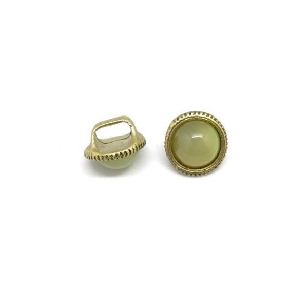 2 Perles Passant À Gros Trou Avec Cabochon Rond Jaune Vert Opaline En Métal Doré Pâle - Photo n°4