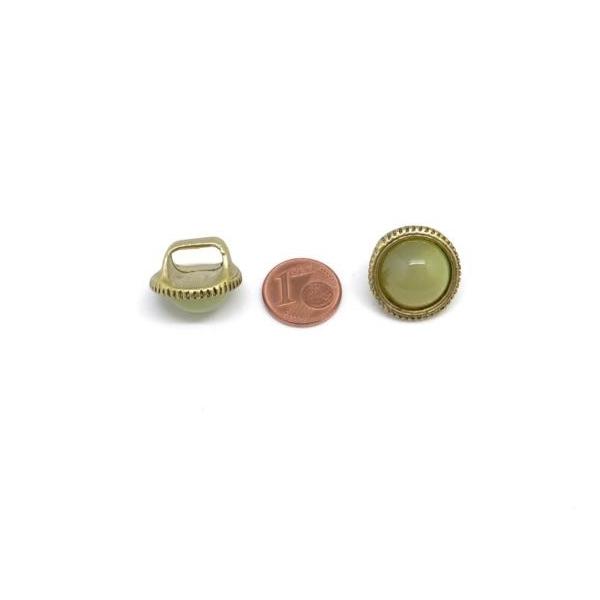2 Perles Passant À Gros Trou Avec Cabochon Rond Jaune Vert Opaline En Métal Doré Pâle - Photo n°5