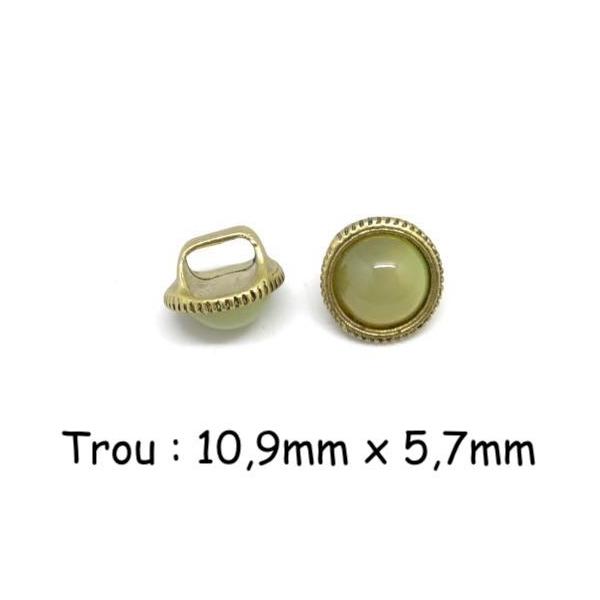 2 Perles Passant À Gros Trou Avec Cabochon Rond Jaune Vert Opaline En Métal Doré Pâle - Photo n°1