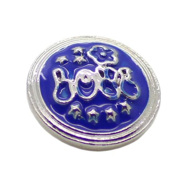Bouton pression en laiton 19 mm fleur étoiles bleu - Photo n°1