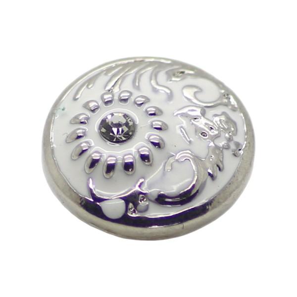 Bouton pression en laiton 19 mm fleur blanc - Photo n°1