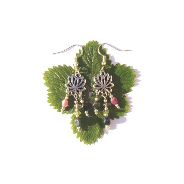 Boucles d'Oreilles Tourmaline multicolore et Lôtus 6 CM de hauteur - Photo n°2