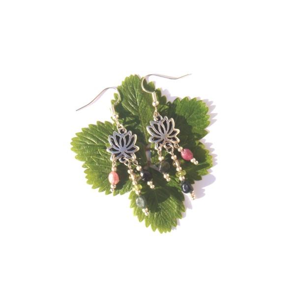 Boucles d'Oreilles Tourmaline multicolore et Lôtus 6 CM de hauteur - Photo n°3