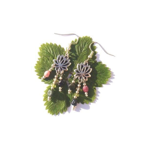 Boucles d'Oreilles Tourmaline multicolore et Lôtus 6 CM de hauteur - Photo n°1