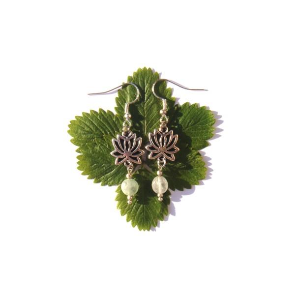 Boucles d'oreilles Aigue Marine et Lotus 5.5 CM de hauteur - Photo n°1