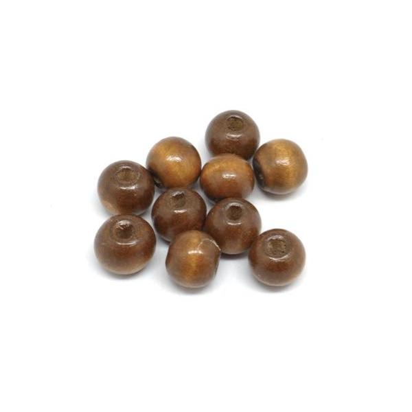 50 Perles 12mm Rondes En Bois Couleur Marron Noisette - Photo n°3