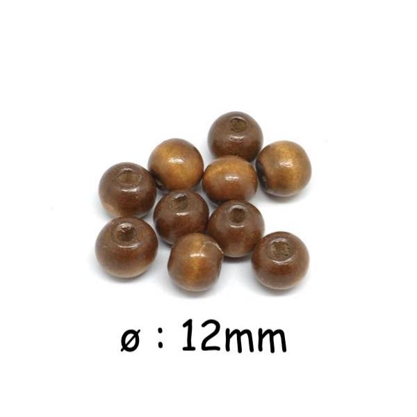 50 Perles 12mm Rondes En Bois Couleur Marron Noisette - Photo n°1