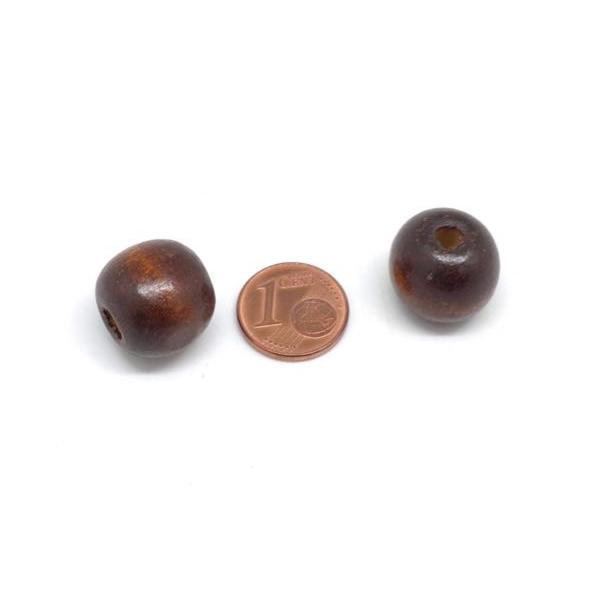 25 Perles 16mm Rondes En Bois Marron Foncé À Gros Trou - Photo n°2