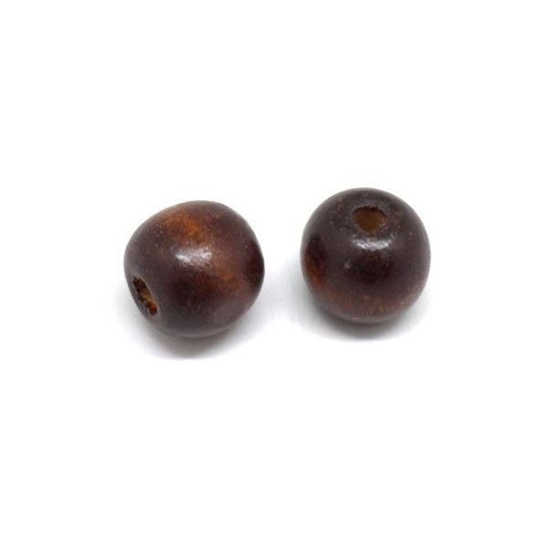 25 Perles 16mm Rondes En Bois Marron Foncé À Gros Trou - Photo n°3