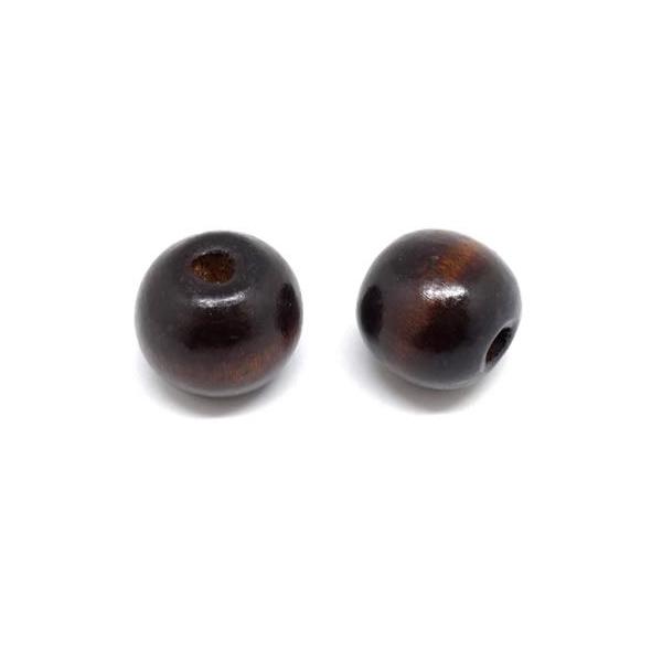 10 Grosses Perles 20mm Ronde En Bois Marron Foncé - Photo n°3