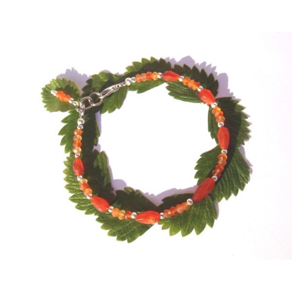 Bracelet fin Agate Cornaline 17.5/18.5 CM de tour de poignet x 5 MM max - Photo n°1
