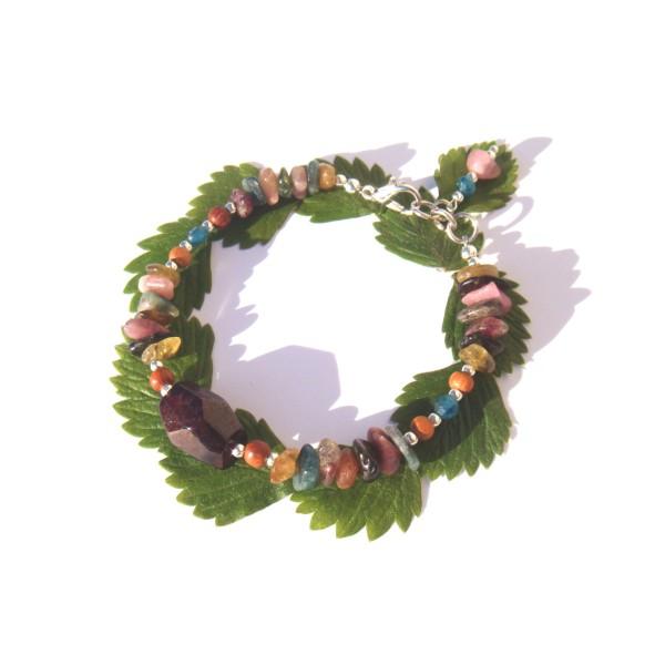 Bracelet Grenat/Tourmaline multicolore/Apatite 17.5 CM à 18.5 CM de tour de poignet - Photo n°2