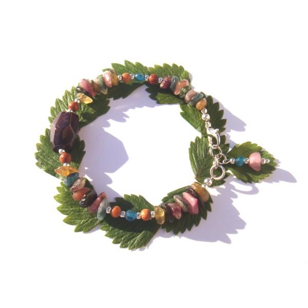 Bracelet Grenat/Tourmaline multicolore/Apatite 17.5 CM à 18.5 CM de tour de poignet - Photo n°3