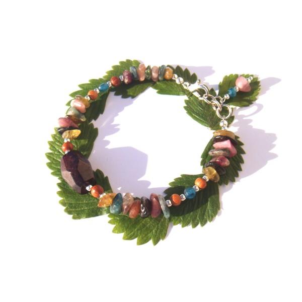 Bracelet Grenat/Tourmaline multicolore/Apatite 17.5 CM à 18.5 CM de tour de poignet - Photo n°1