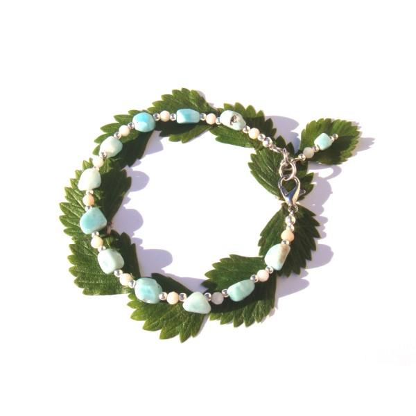 Bracelet Larimar et rondelles facettées d'Opale Rose 18 CM/19 CM de poignet - Photo n°2