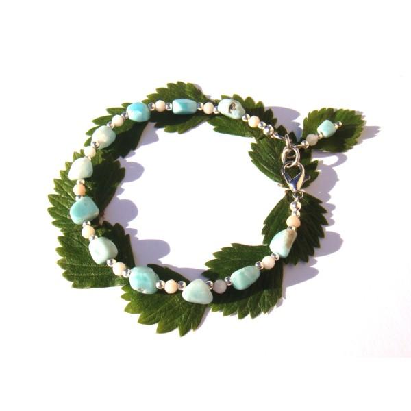 Bracelet Larimar et rondelles facettées d'Opale Rose 18 CM/19 CM de poignet - Photo n°3