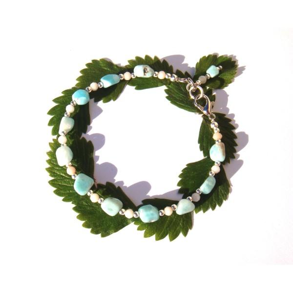 Bracelet Larimar et rondelles facettées d'Opale Rose 18 CM/19 CM de poignet - Photo n°1