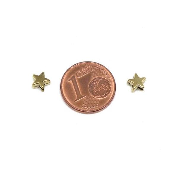 50 Mini Perles Étoiles Doré En Métal 5mm - Photo n°2