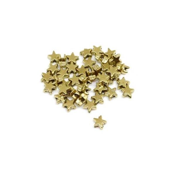 50 Mini Perles Étoiles Doré En Métal 5mm - Photo n°4