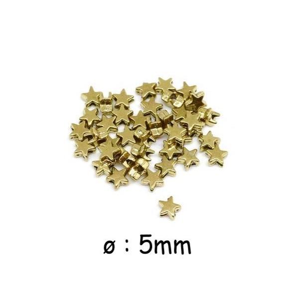 50 Mini Perles Étoiles Doré En Métal 5mm - Photo n°1